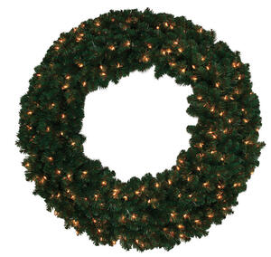 J & J Seasonal  Prelit Green  Masterpiece Commercial Wreath  48 in. Dia. Clear