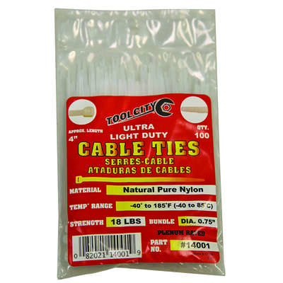 Tool City 4 in. L White Cable Tie 100 pk