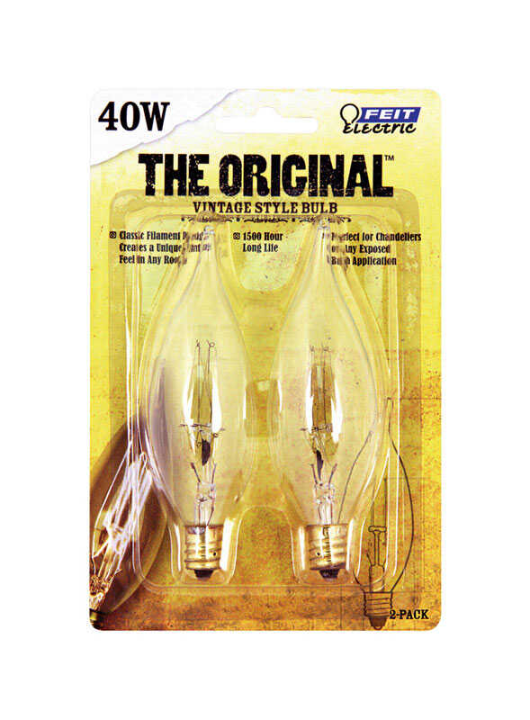 FEIT Electric  The Original  40 watts CA10  Incandescent Bulb  65 lumens Soft White  Vintage  2 pk