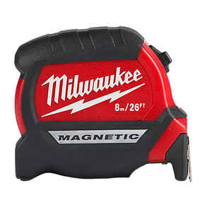 Milwaukee  26 ft. L x 2 in. W Compact  Magnetic Tape Measure  Black/Red  1 pk