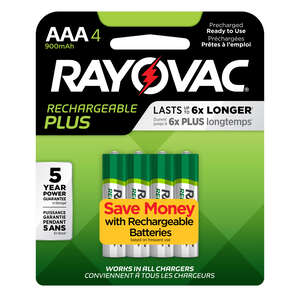 Rayovac  Platinum  NiMH  AAA  PL724-4B  Rechargeable Battery  4
