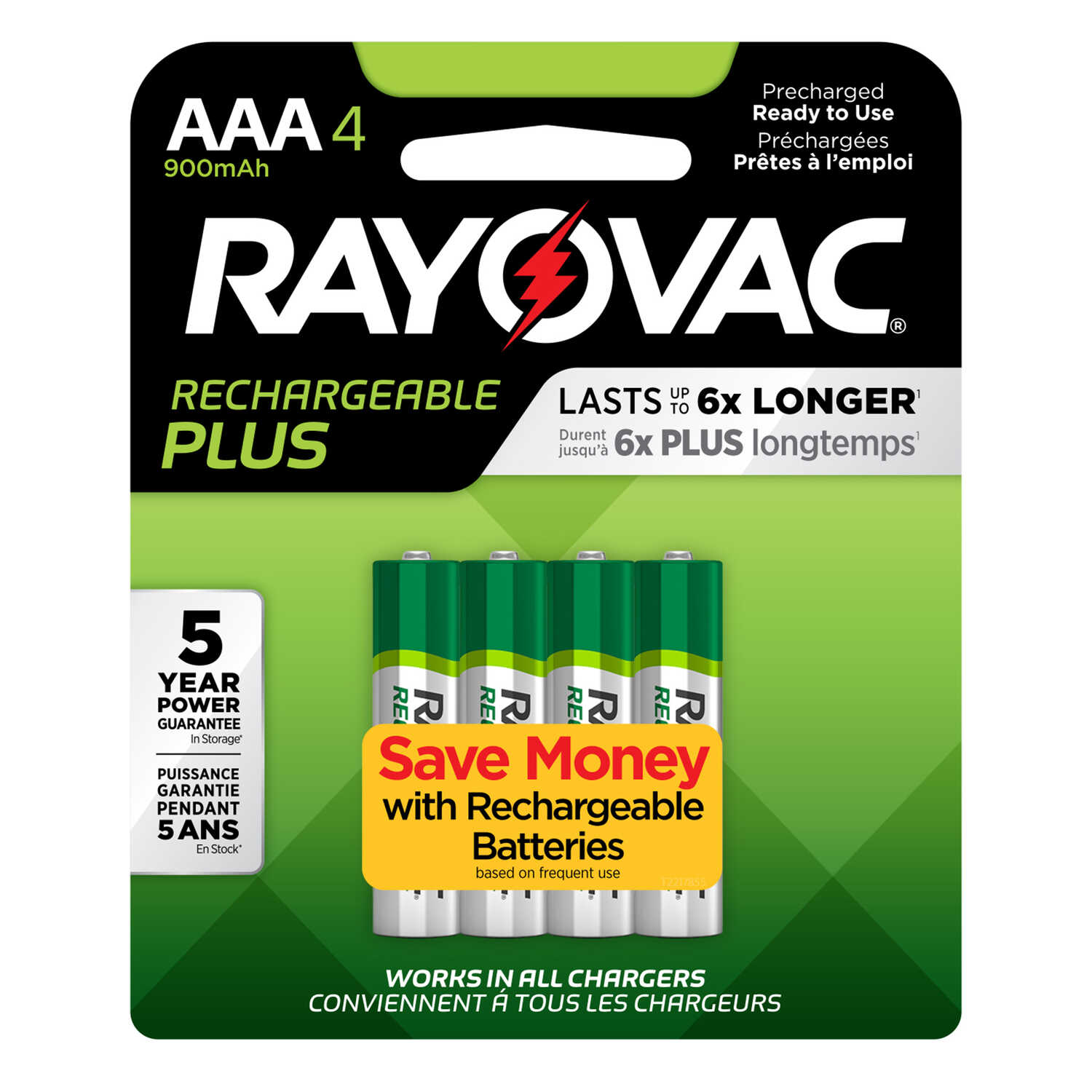 Rayovac  Platinum  NiMH  AAA  1.2 volt 4  PL724-4B  Rechargeable Battery