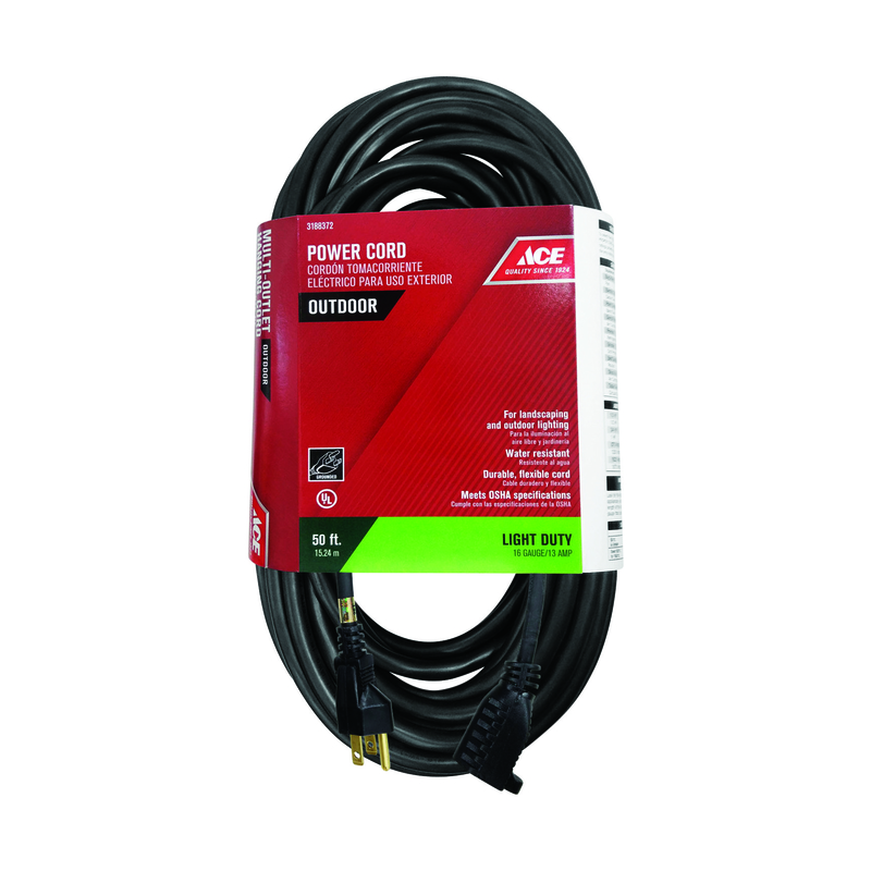 Ace  50 ft. L Black  Outdoor  16/3 SJTW  Extension Cord