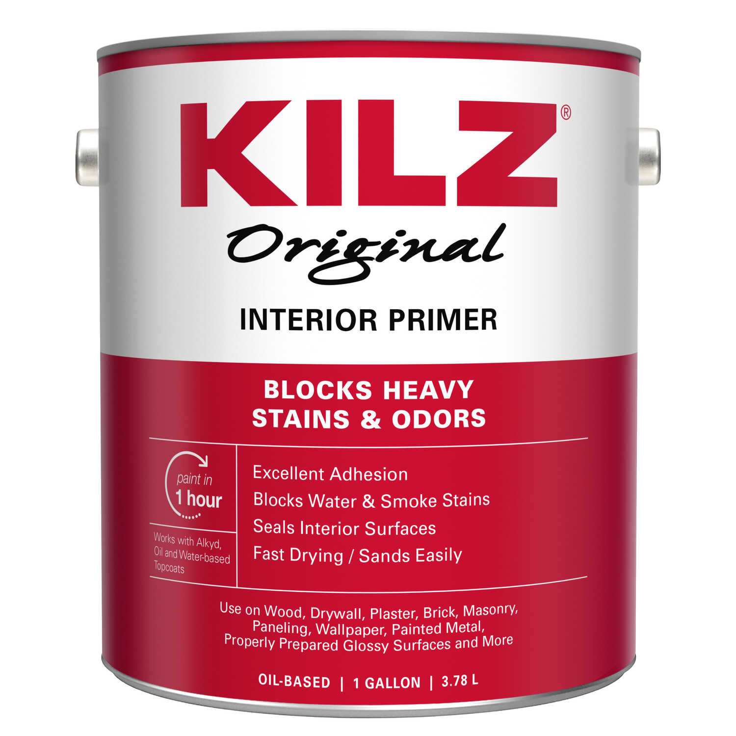Kilz  Original  White  Oil-Based  Primer  For All Surfaces 1 gal.