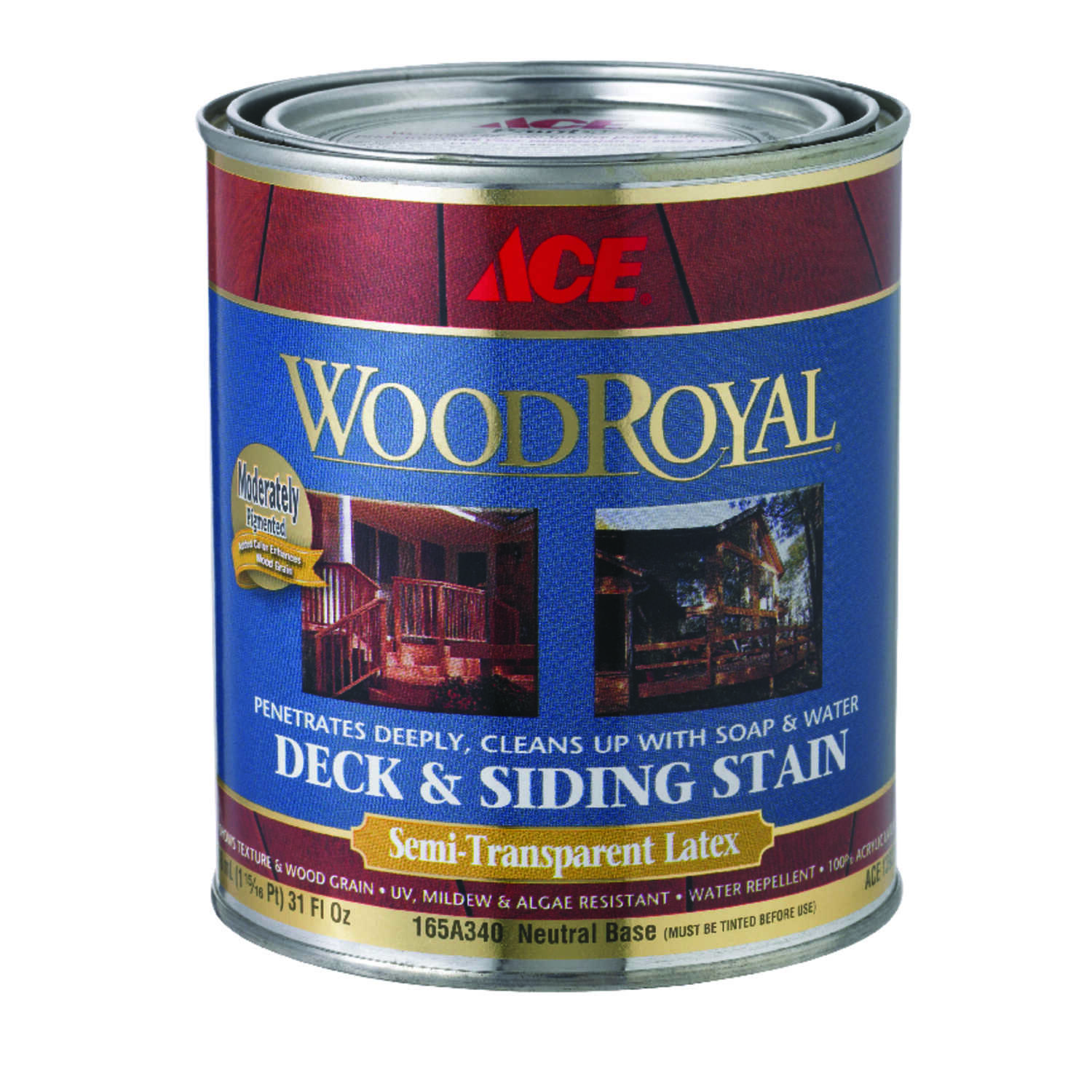 Ace  Wood Royal  Semi-Transparent  Tintable Neutral Base  Acrylic  Deck and Siding Stain  1 qt.