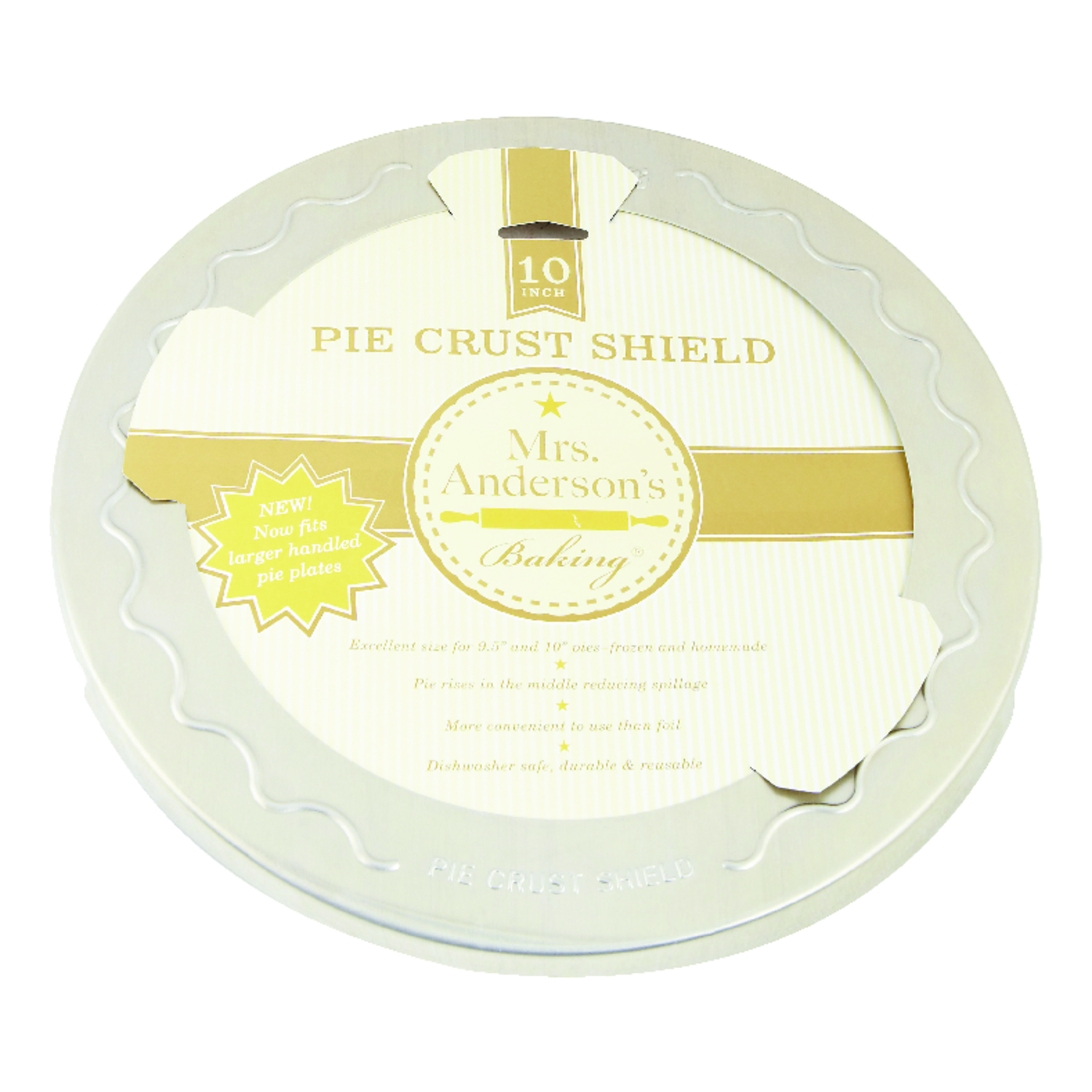 Mrs. Anderson's  Baking  10 in. L Pie Crust Shield  Silver