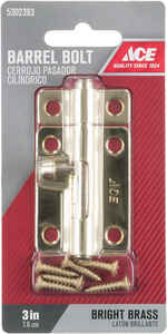 Ace  3 in. L Brass-Plated  Steel  Barrel Bolt  1 pk