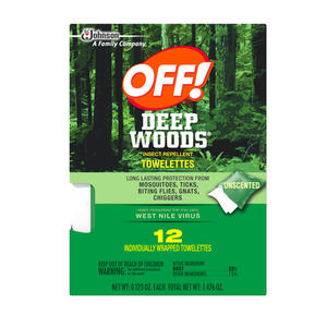 OFF!  Deep Woods  Insect Repellent  Towelettes  For Mosquitoes 12 pk