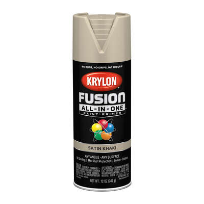 Krylon  Fusion All-In-One  Satin  Khaki  Paint + Primer Spray Paint  12 oz.