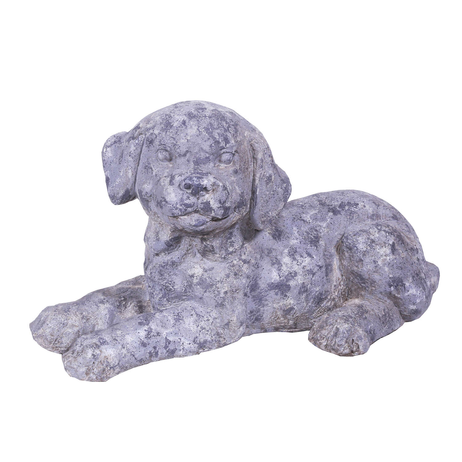 Alpine Fiberglass Gray 10 in. H Puppy Laying Down Statue