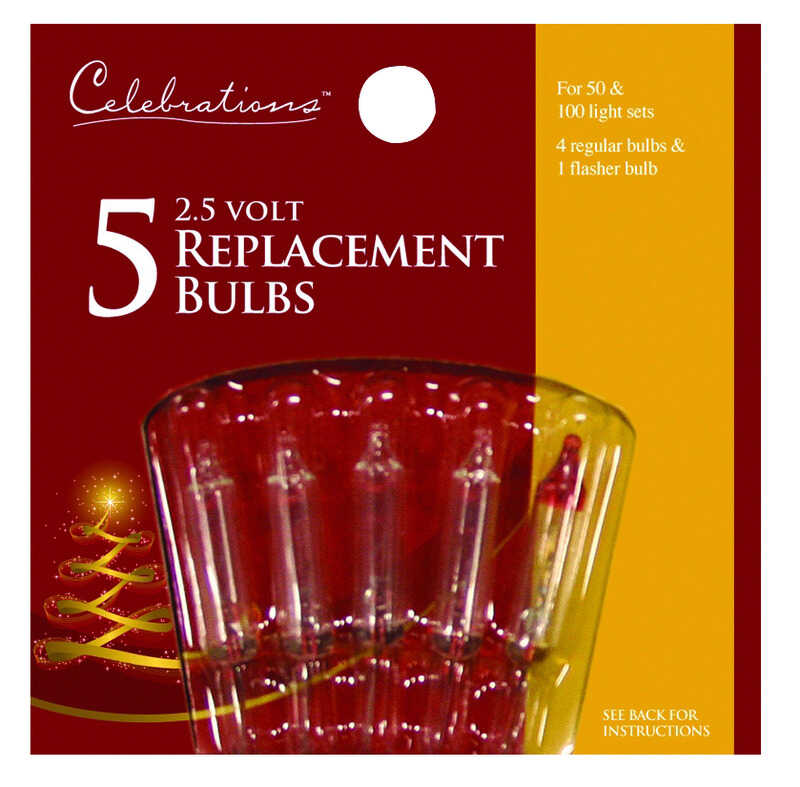 Celebrations  Mini  Incandescent  Replacement Bulb  Clear  5 lights