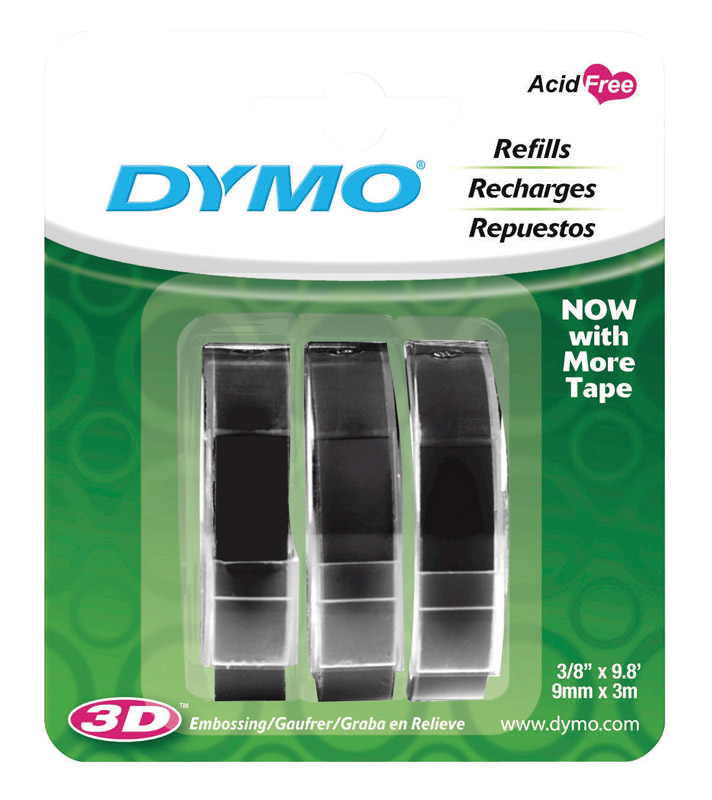 Dymo Labelmaker Refill Tape 3/8 in. x 9.8 ft. Black