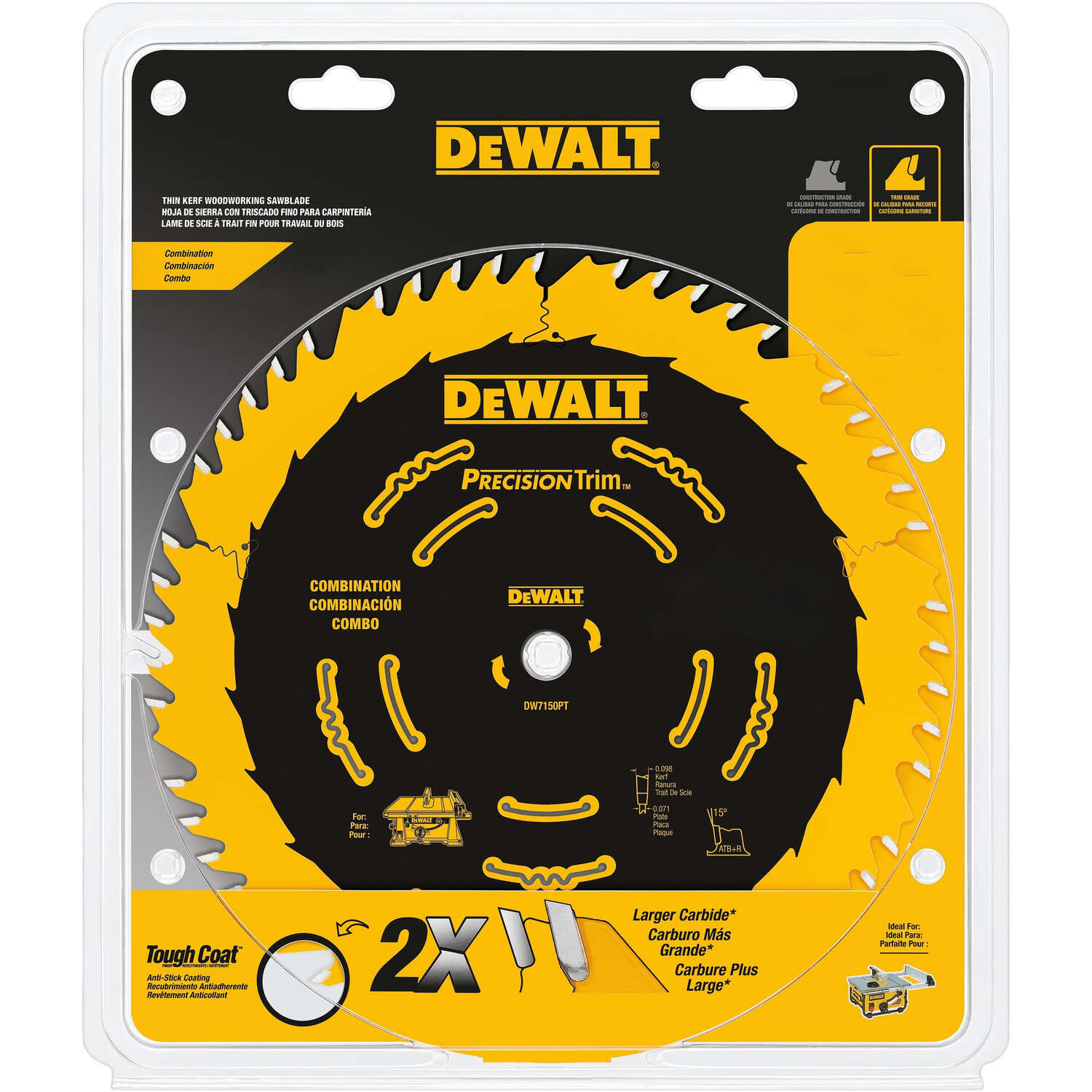 DeWalt  7-1/4 in. Dia. x 5/8 in.  Precision Trim  Carbide Tipped  Saw Blade  40 teeth 1 pk