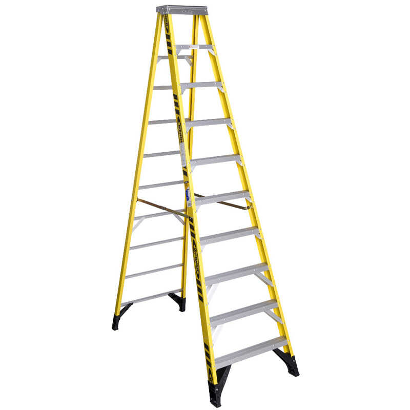 Werner  10 ft. H x 32 in. W Fiberglass  Type IAA  375 lb. capacity Step Ladder