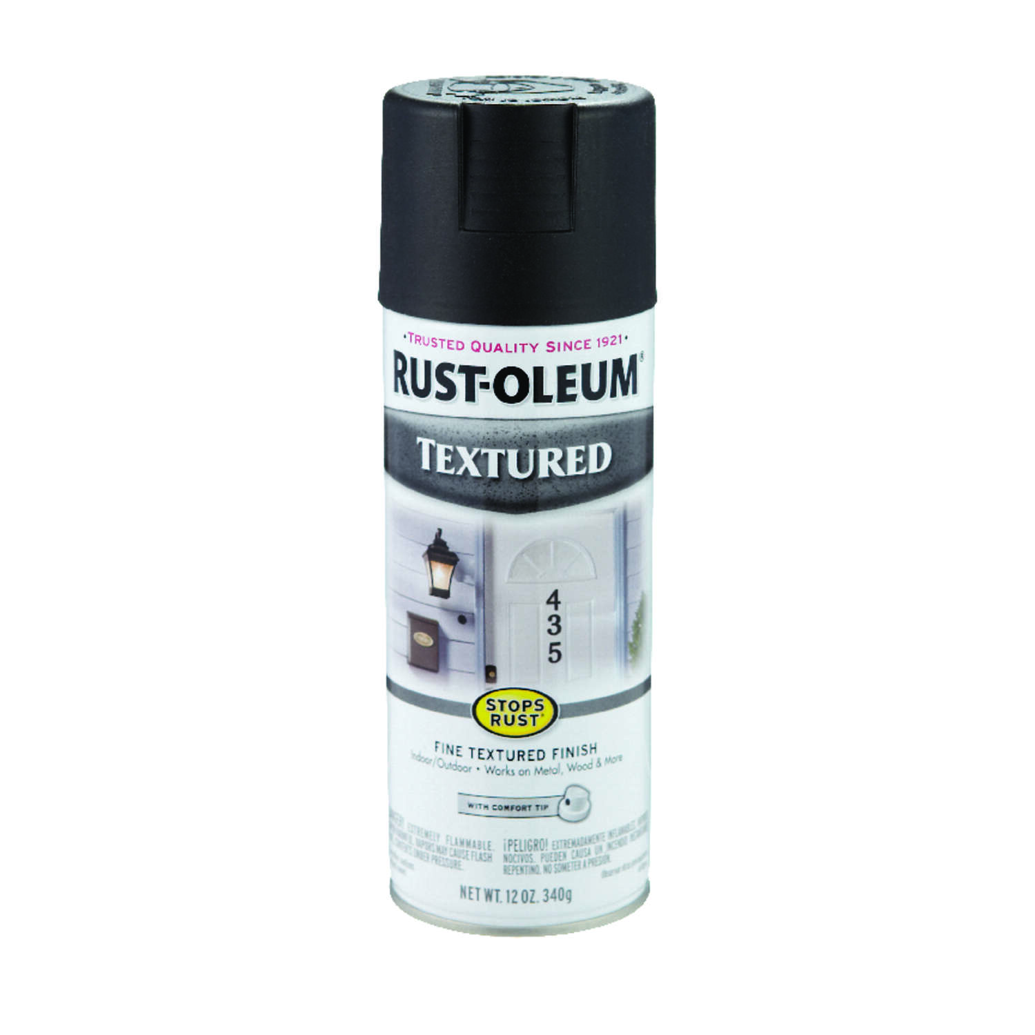 Rust-Oleum  Stops Rust  Textured  Black  Spray Paint  12 oz.