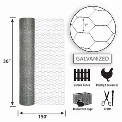 Garden Zone  36 in. H x 150 ft. L 20 Ga. Silver  Poultry Netting