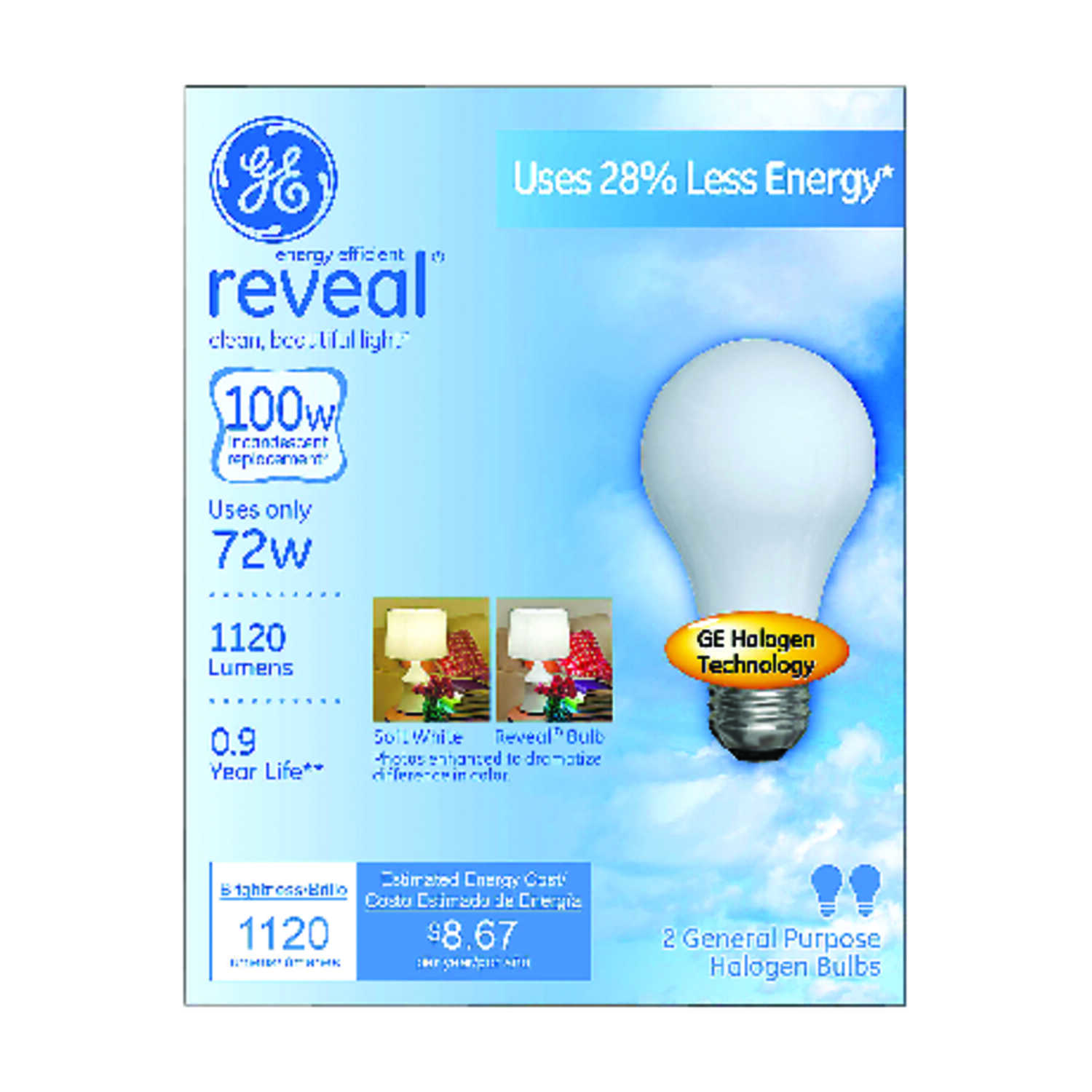 GE  reveal  72 watts A19  Halogen Bulb  1120 lumens Soft White  2 pk A-Line