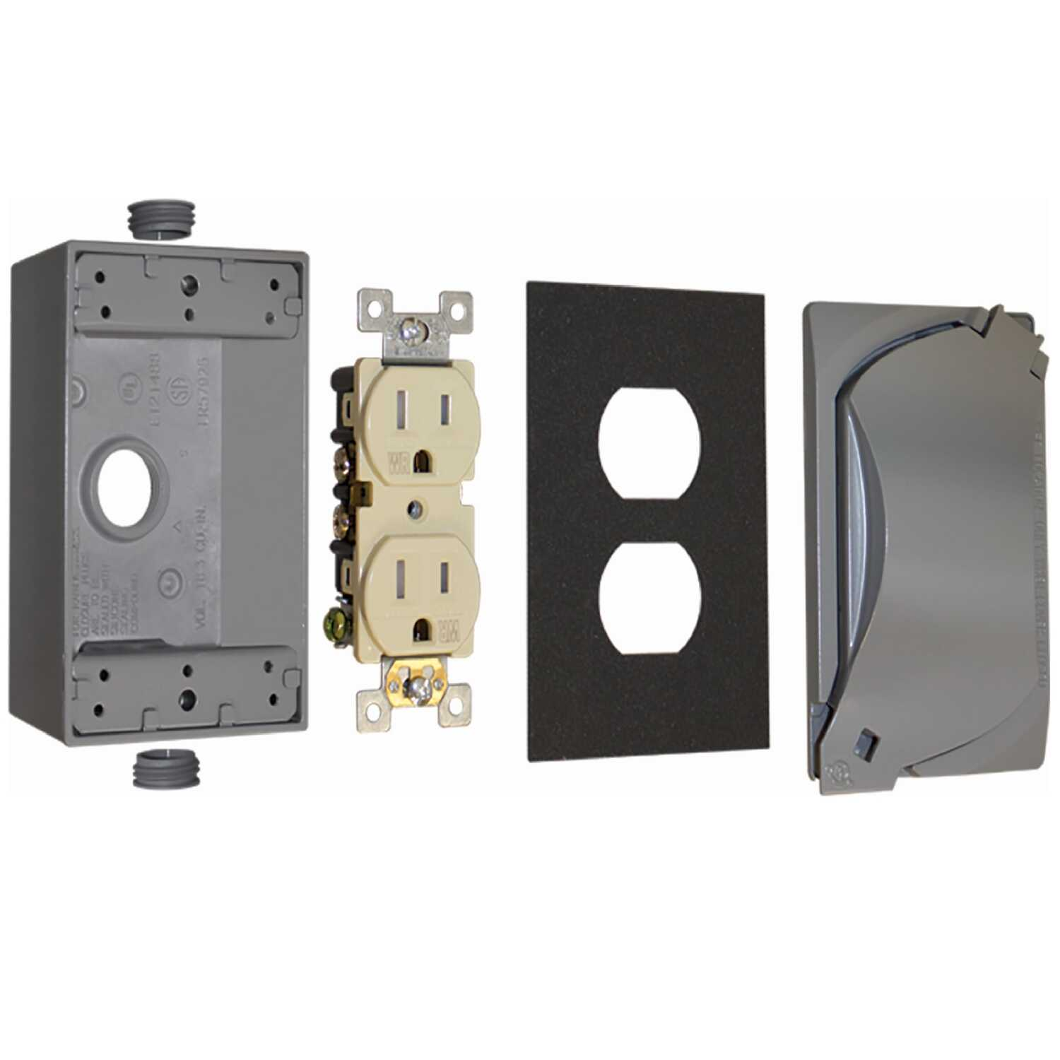Sigma Electric  15 amps Metal  1 gang 125 volt Duplex Outlet Kit  Rectangle  1 pk For For Use in Bra