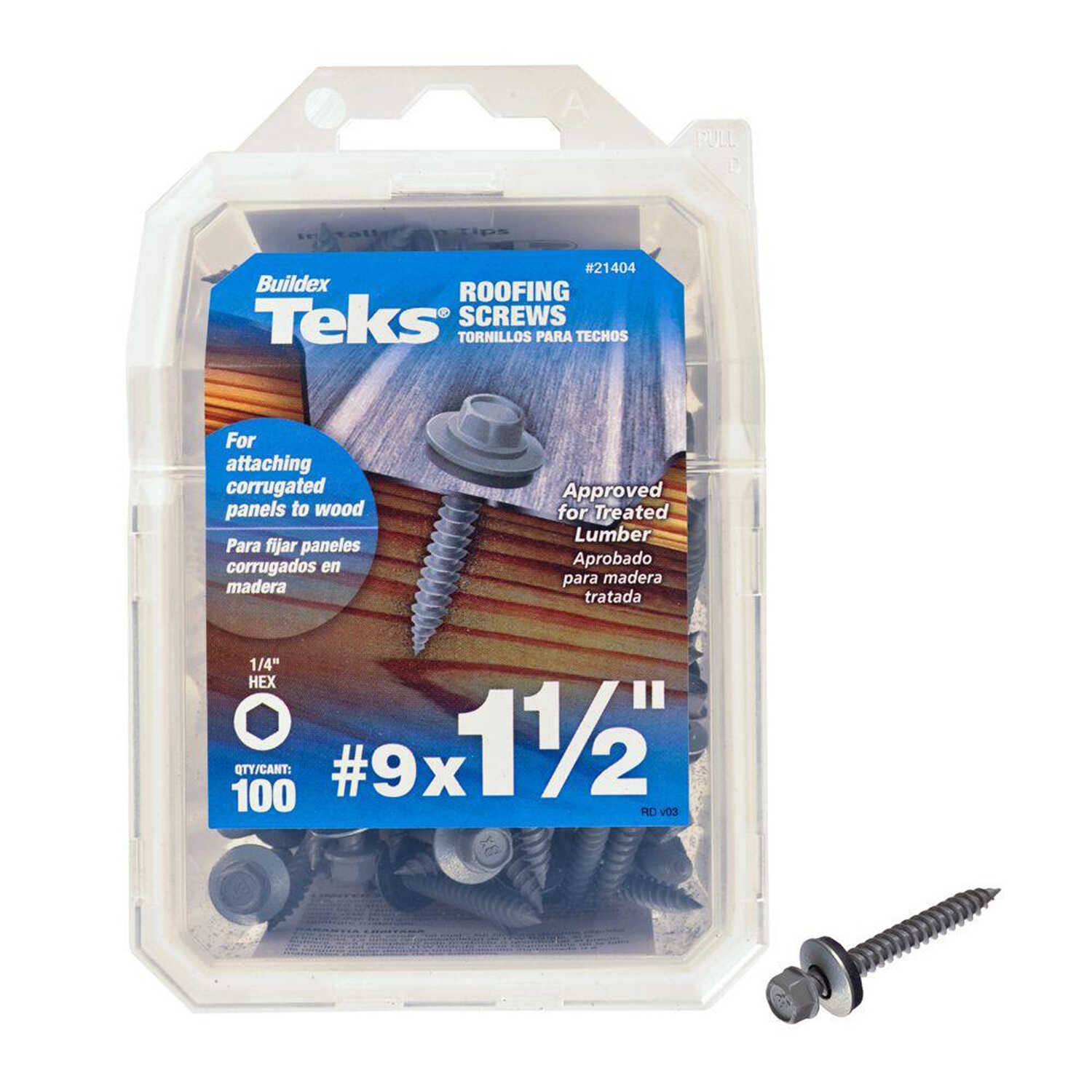 ITW  Teks  No. 9 Sizes  x 1-1/2 in. L Self-Tapping  Hex Washer  Self- Drilling Screws  100 per box S