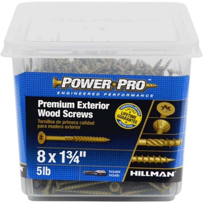 HILLMAN  Power Pro  No. 8   x 1-3/4 in. L Star  Flat  Steel  Deck Screws  Ceramic Coated  5 lb. 877