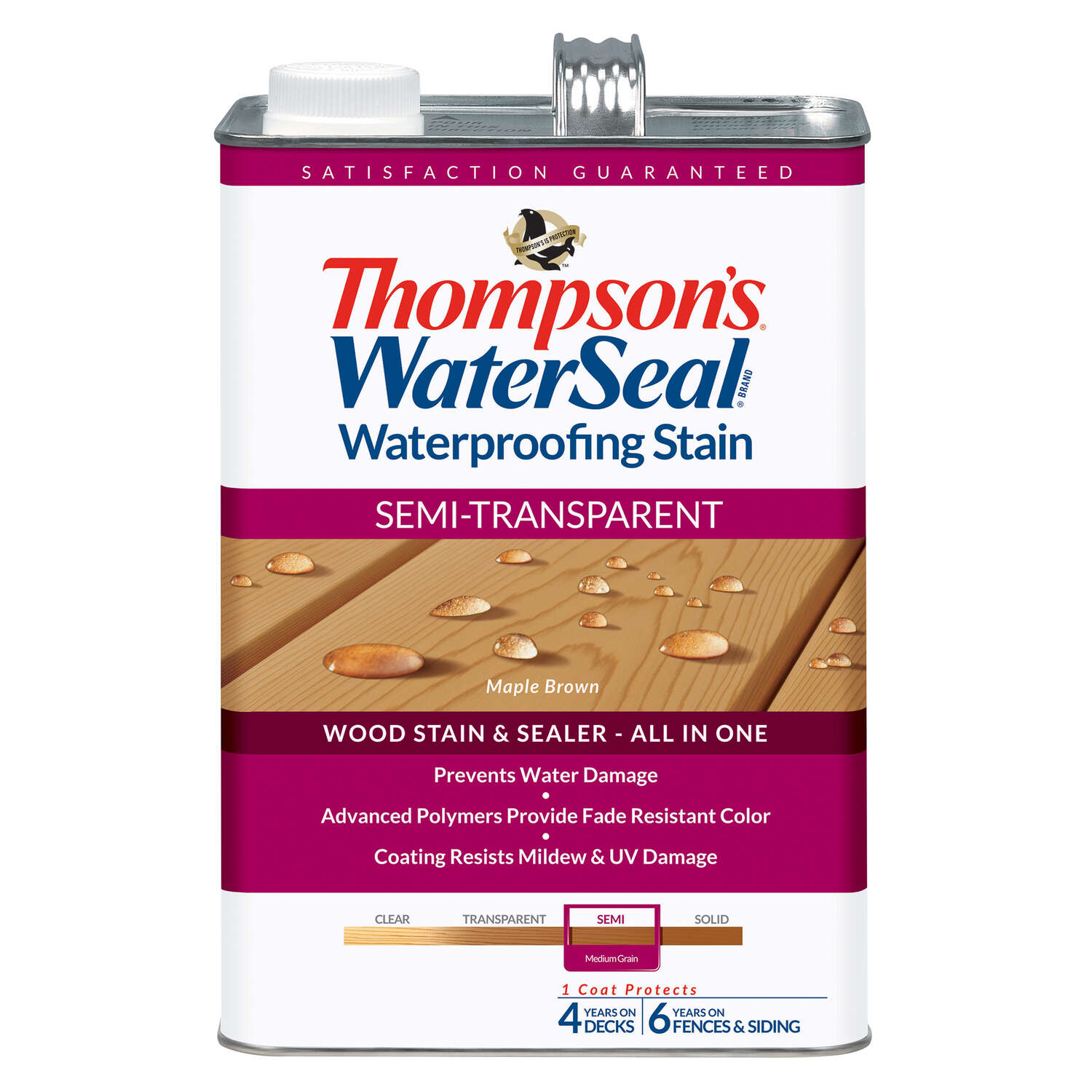 Thompson's WaterSeal  Semi-Transparent  Maple Brown  Waterproofing Wood Stain and Sealer  1 gal.