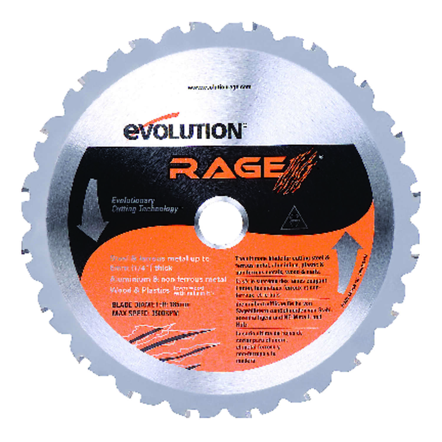 Evolution  Rage  7-1/4  Carbide Tip Steel  Rage  Circular Saw Blade  0.067 in.  20  20 teeth