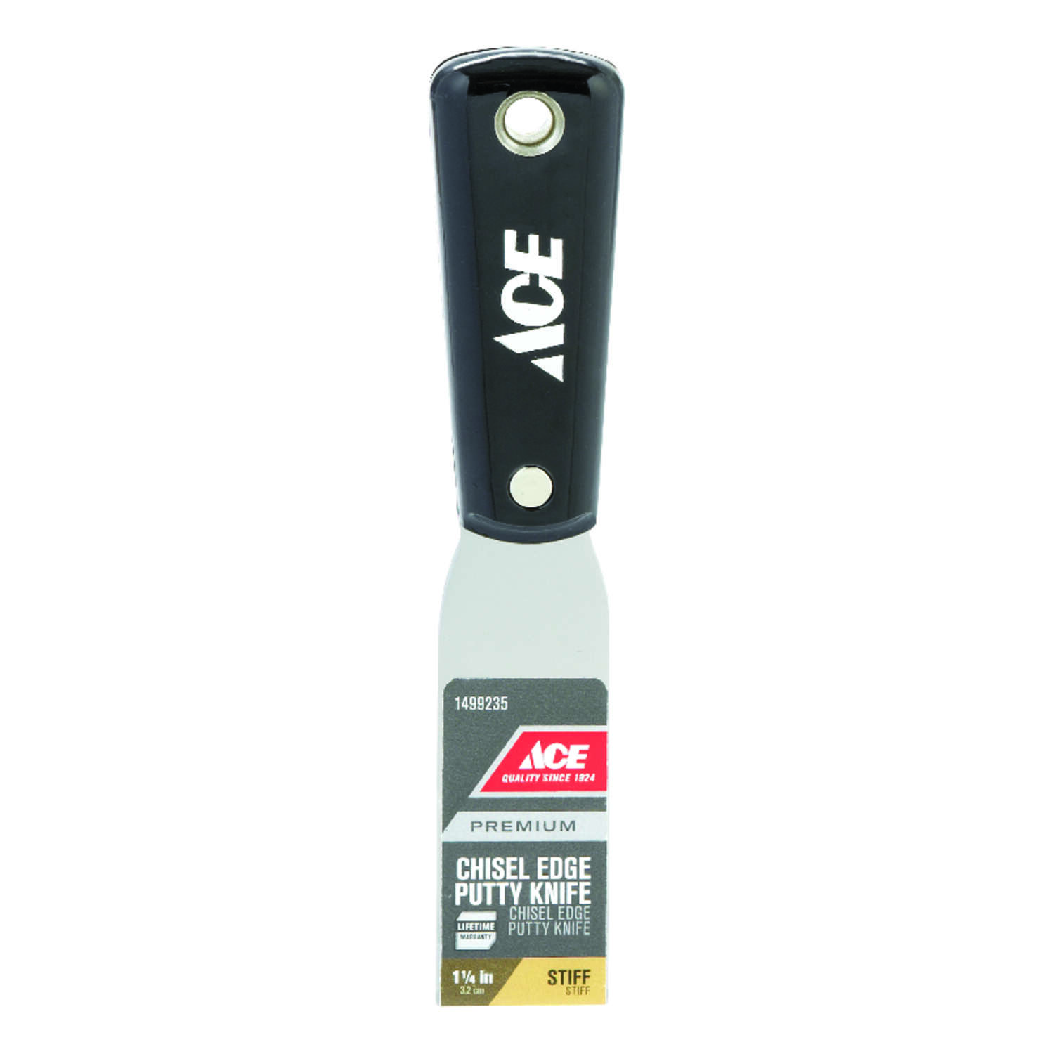Ace  1-1/4 in. W Carbon Steel  Stiff  Chisel Edge Putty Knife