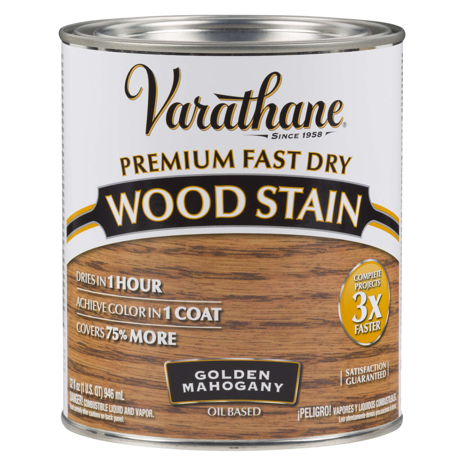 Varathane  Semi-Transparent  Golden Mahogany  Oil-Based  Urethane Modified Alkyd  Wood Stain  1 qt.
