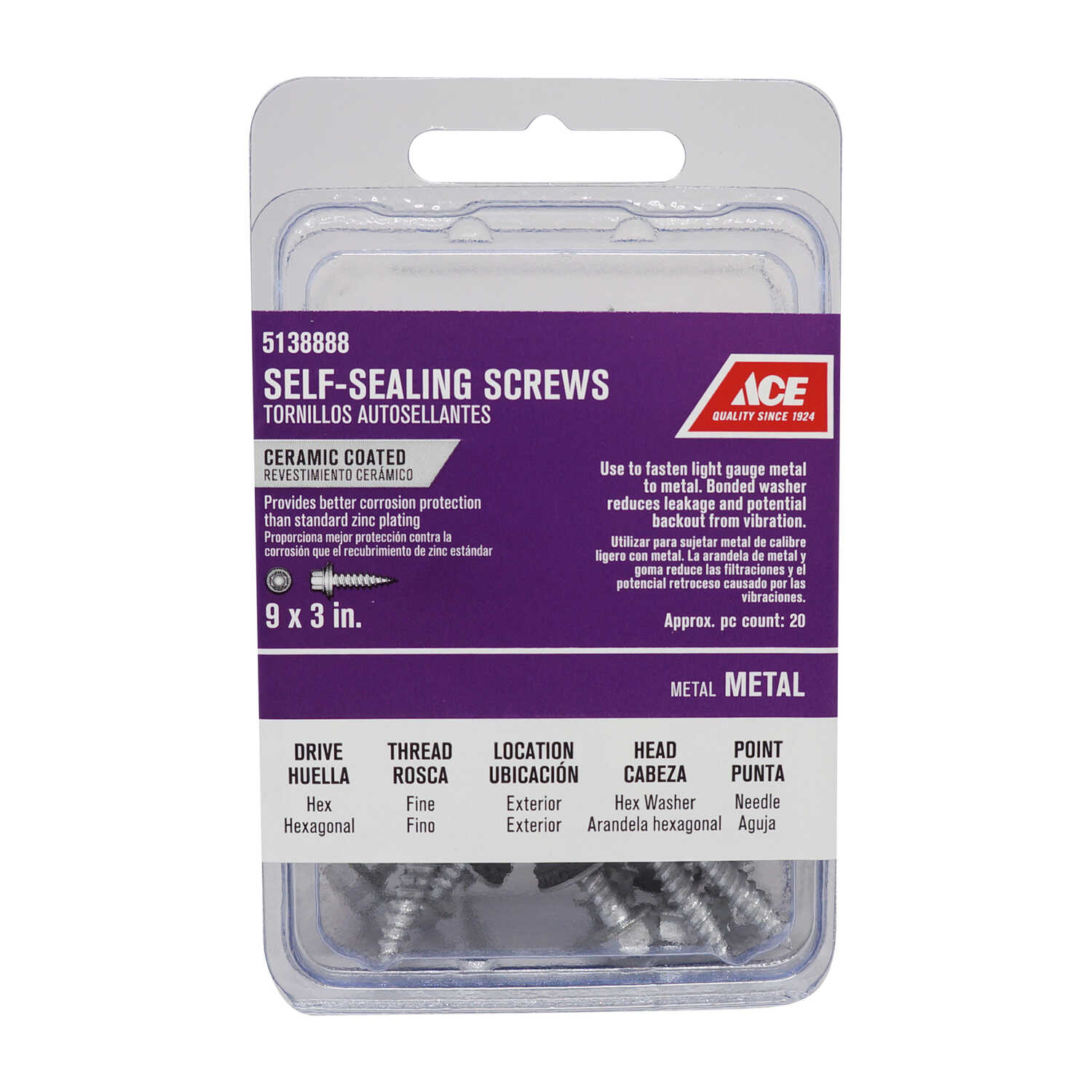 Ace  9 Sizes  x 3 in. L Hex Washer Head Ceramic  Steel  Self-Sealing Screws