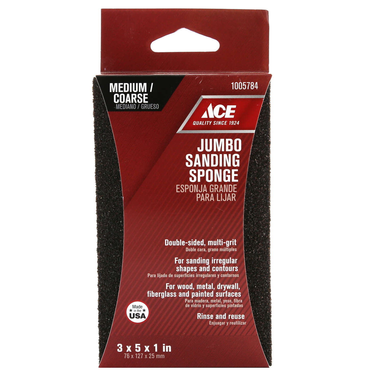 Ace  5 in. L 60/80 Grit Extra Large  Assorted  Sanding Sponge