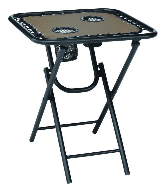 Living Accents  Bungee  Square  Brown  Folding  Table