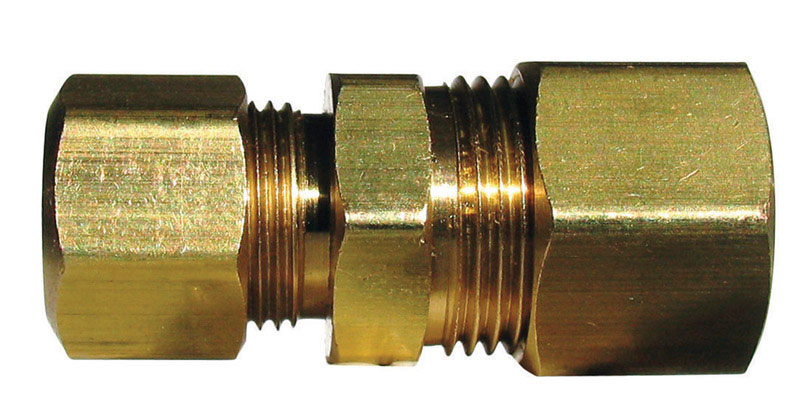 JMF  1/2 in. Dia. x 3/8 in. Dia. Compression To Compression  Yellow Brass  Reducing Union