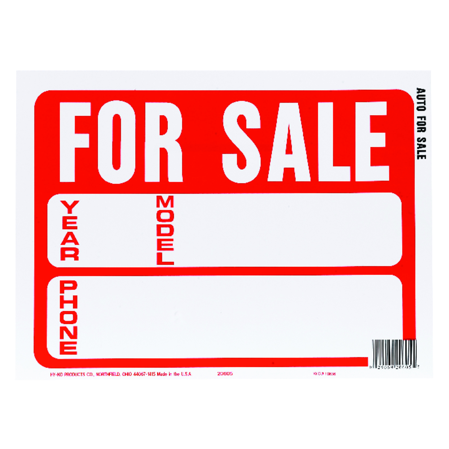 Hy-Ko  English  12 in. W x 9 in. H For Sale (Auto)  Plastic  Sign