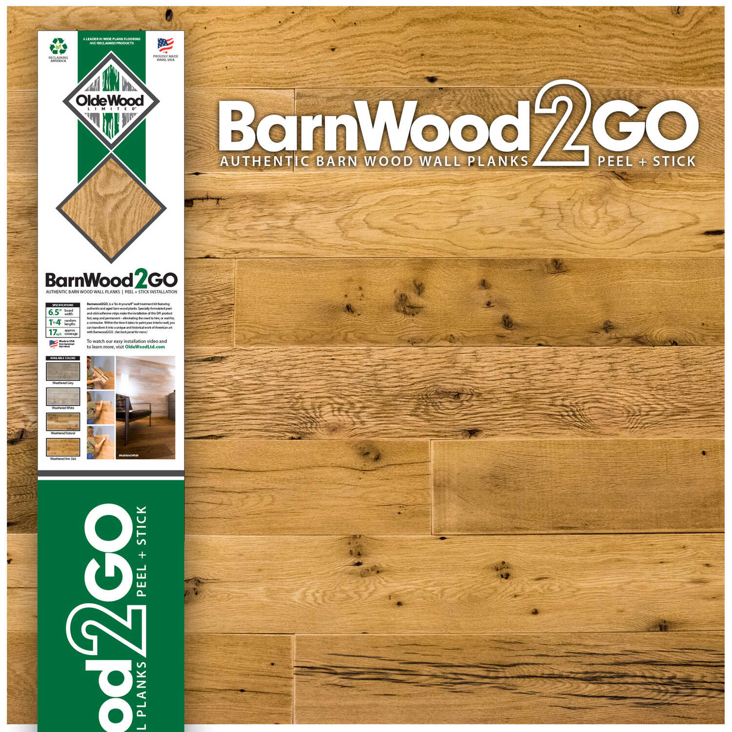 OldeWood Limited  BarnWood2GO  5/16 in. H x 5-1/2 in. W x 48 in. L Weathered  Oak  Wood  Wall Plank