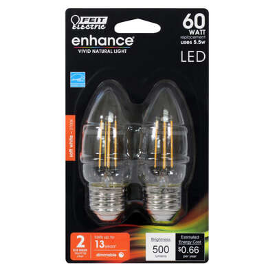 Feit Electric  Enhance  B10  E26 (Medium)  Filament LED Bulb  Soft White  60 Watt Equivalence 2 pk
