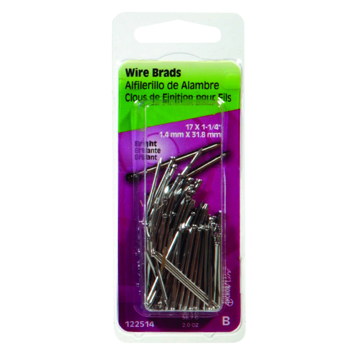 Hillman  17 Ga.  x 1-1/4 in. L Bright  Steel  Brad Nails  1 pk 2 oz.