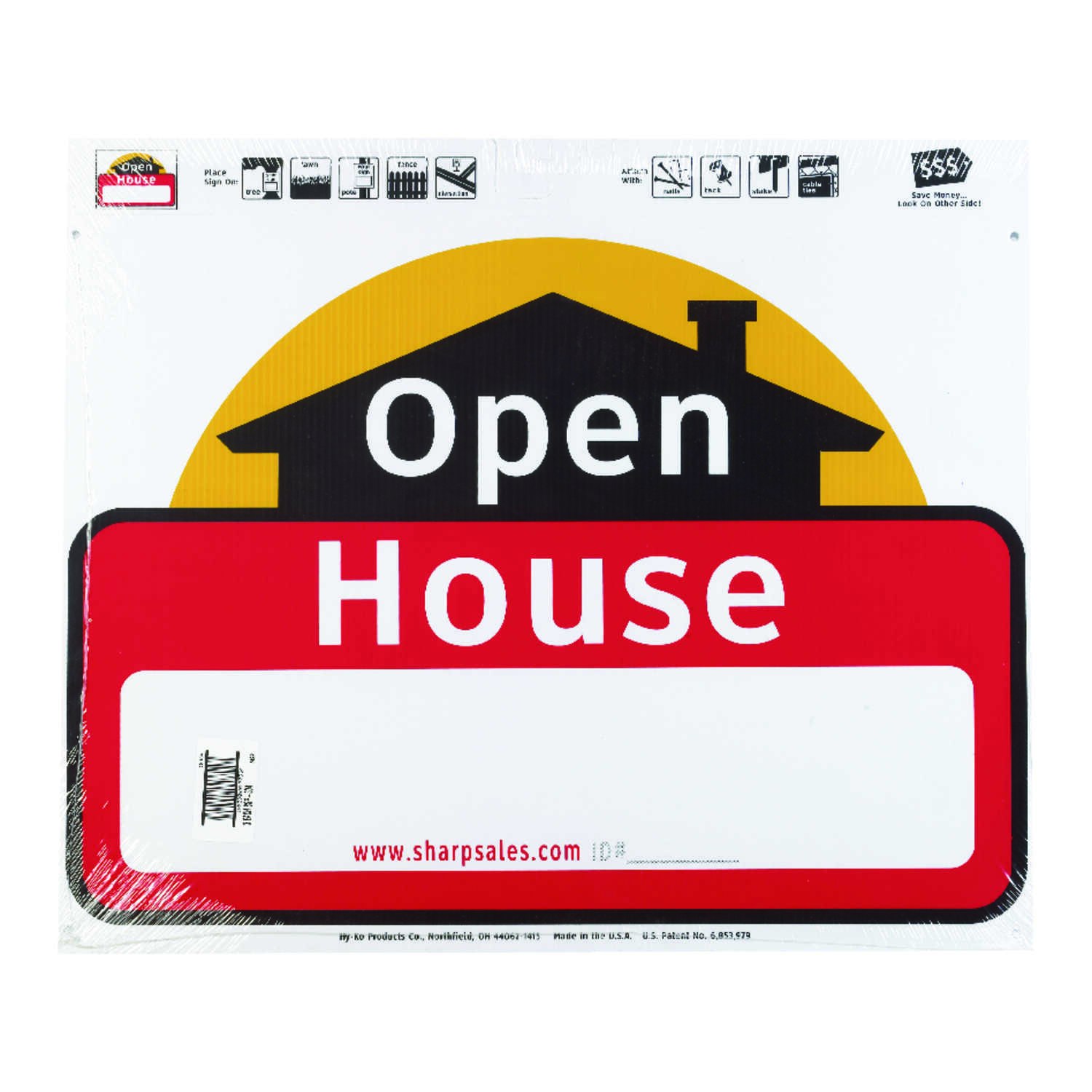 Hy-Ko  English  Open House  Sign  Plastic  20 in. H x 24 in. W