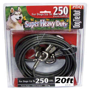 Boss Pet  PDQ  Silver  Tie-Out  Vinyl Coated Cable  Dog  Tie Out  X-Large