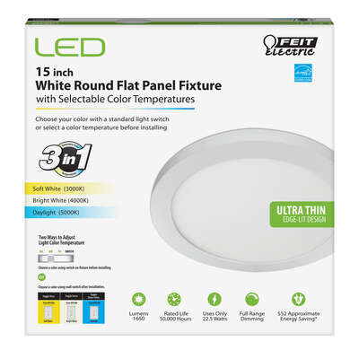 Feit Electric 1 in. H x 15 in. W x 15 in. L White LED Flat Panel Light Fixture