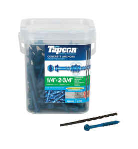 Tapcon  1/2 in. Dia. x 2-3/4 in. L Steel  Hex Head Concrete Screw Anchor  150 pk