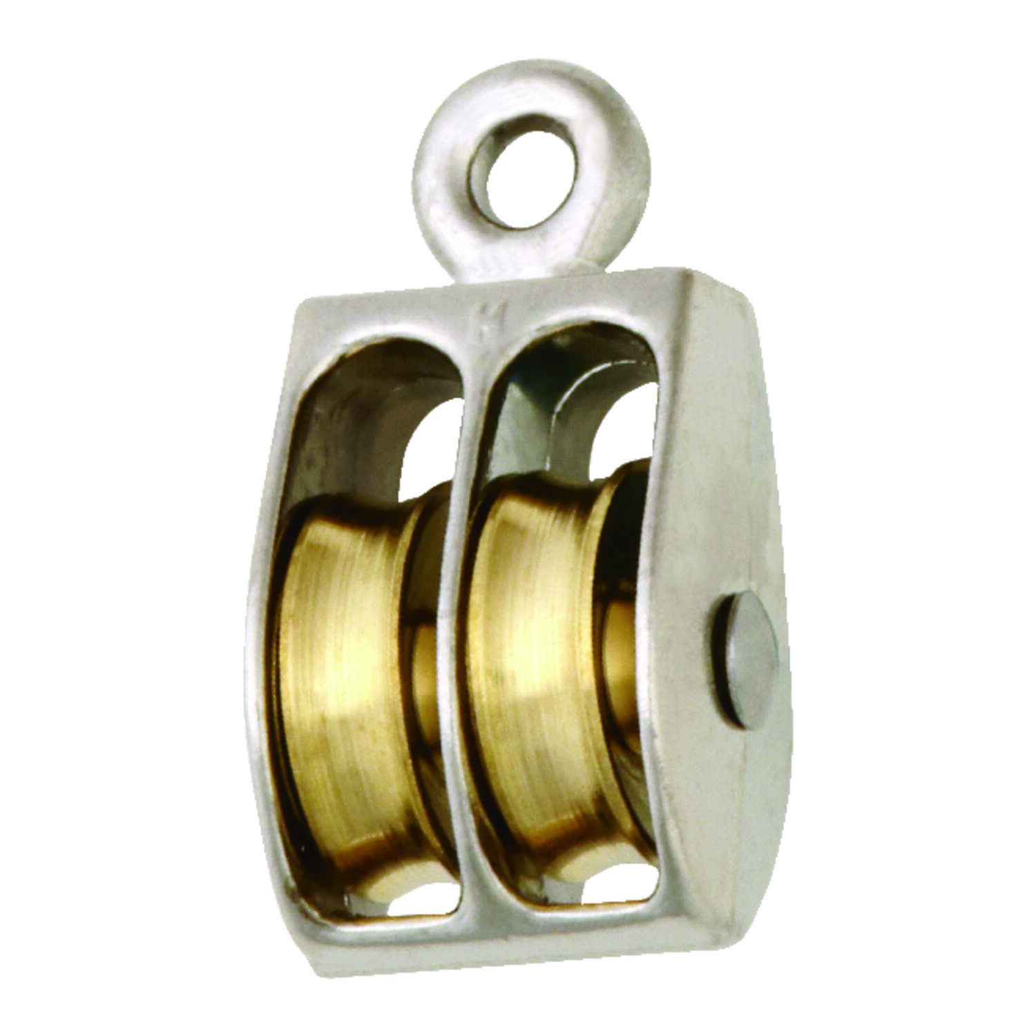 Campbell Chain  1 in. Dia. Nickel  Copper  Ridge Eye  Double Sheave Rigid Eye Pulley