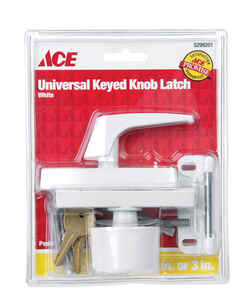 Ace  White  Metal  Keyed Universal Knob Latch  1 pk