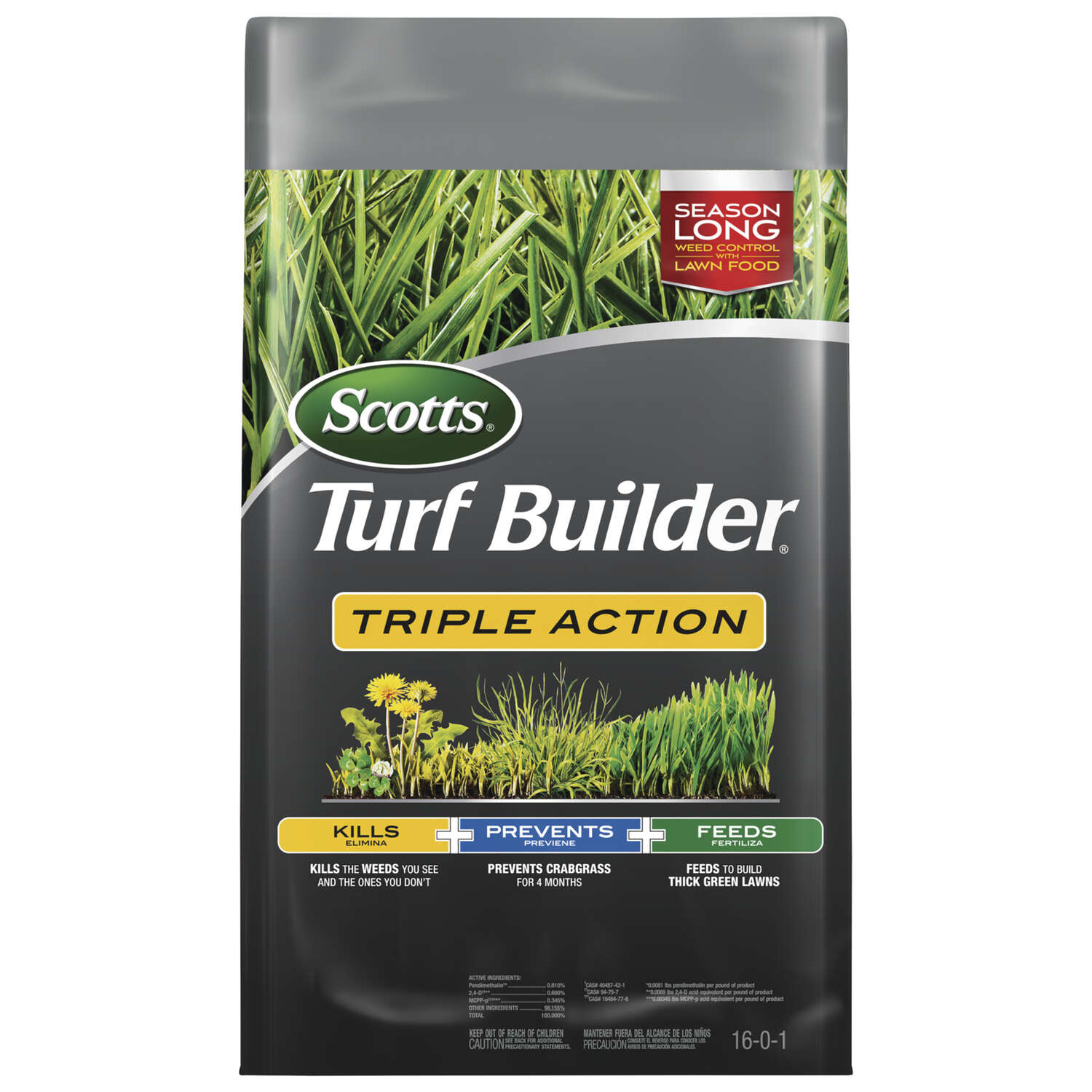 Scotts  Turf Builder Triple Action  16-0-1  Weed and Feed  For Multiple 20 lb. 4000 sq. ft.