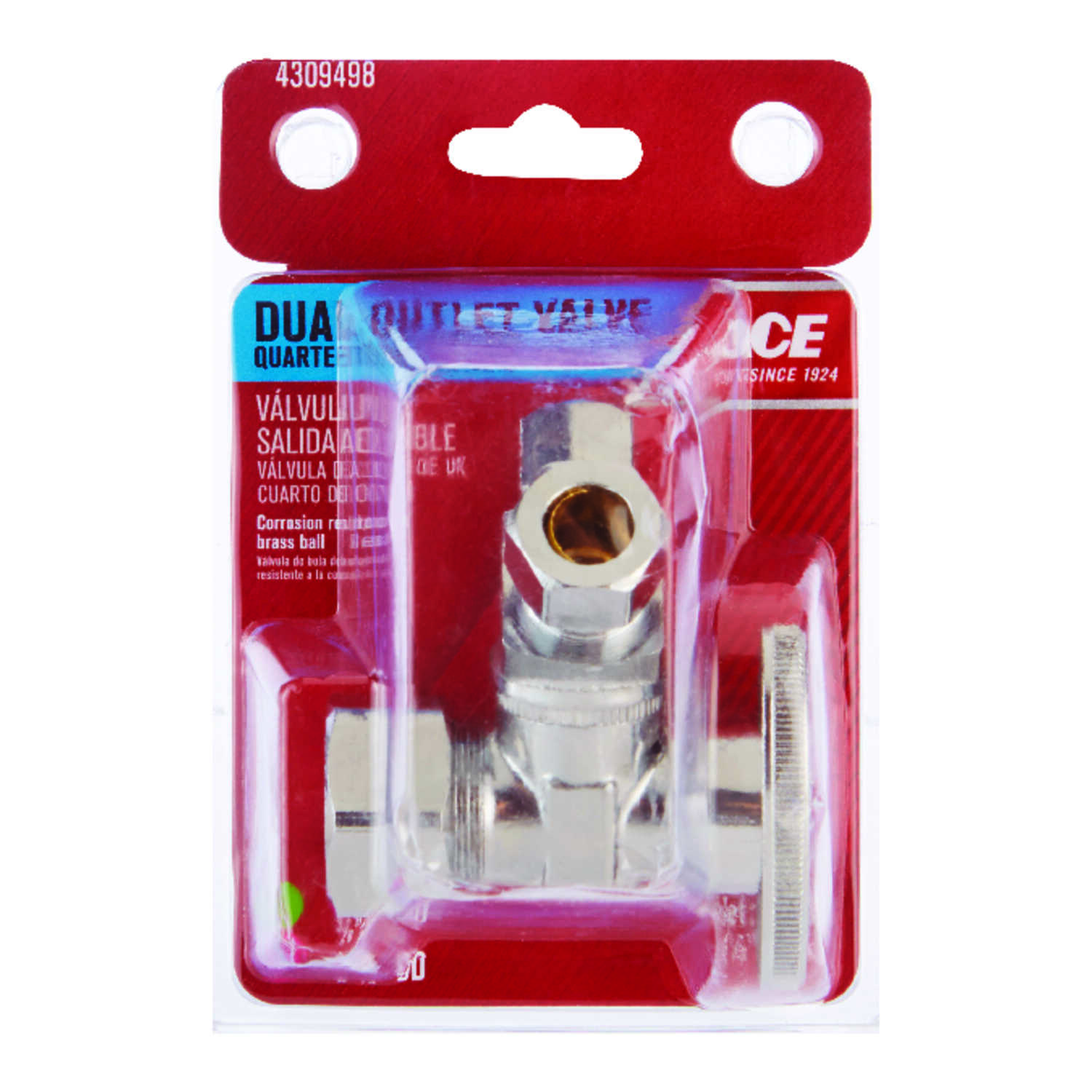 Ace  5/8 in.  x 3/8 x 1/4 in.  Ball  Dual Shut-Off Valve  Brass