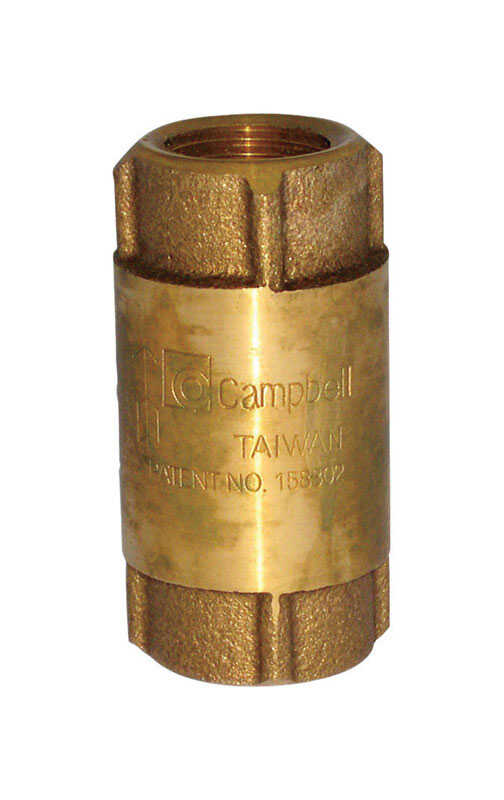 Campbell  1/2 in. 1/2 in. FIP X 1/2 in. FIP  Yellow Brass  Spring  Check Valve