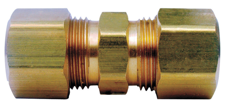 Ace  1/2 in. Dia. x 3/8 in. Dia. Compression To Compression  Yellow Brass  Union