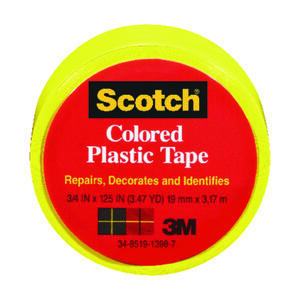 Scotch  Yellow  125 in. L x 3/4 in. W Plastic Tape