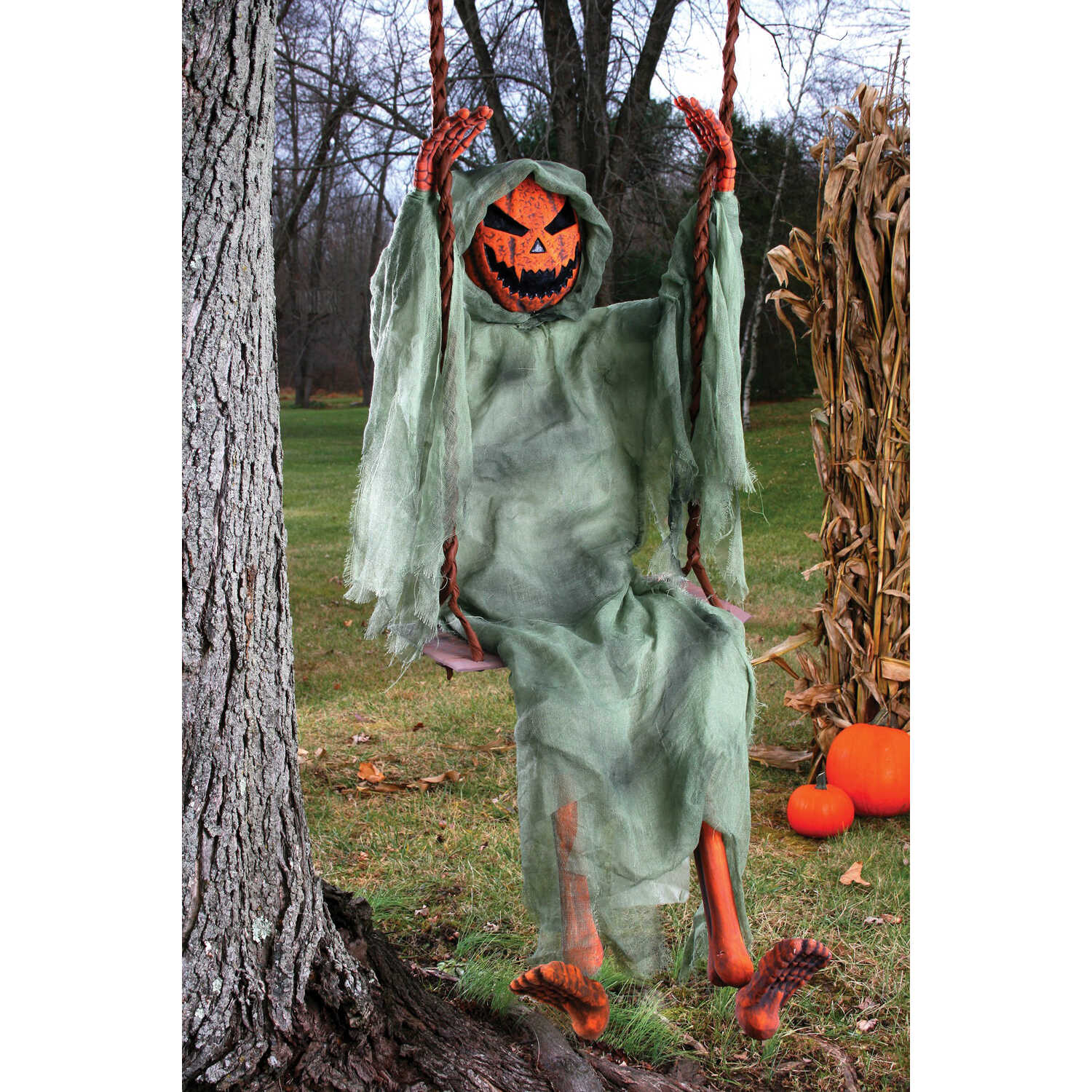 Fun World  Swinging Pumpkin Ghost  Halloween Decoration  18 in. H x 6 in. W x 60 in. L 1 pk