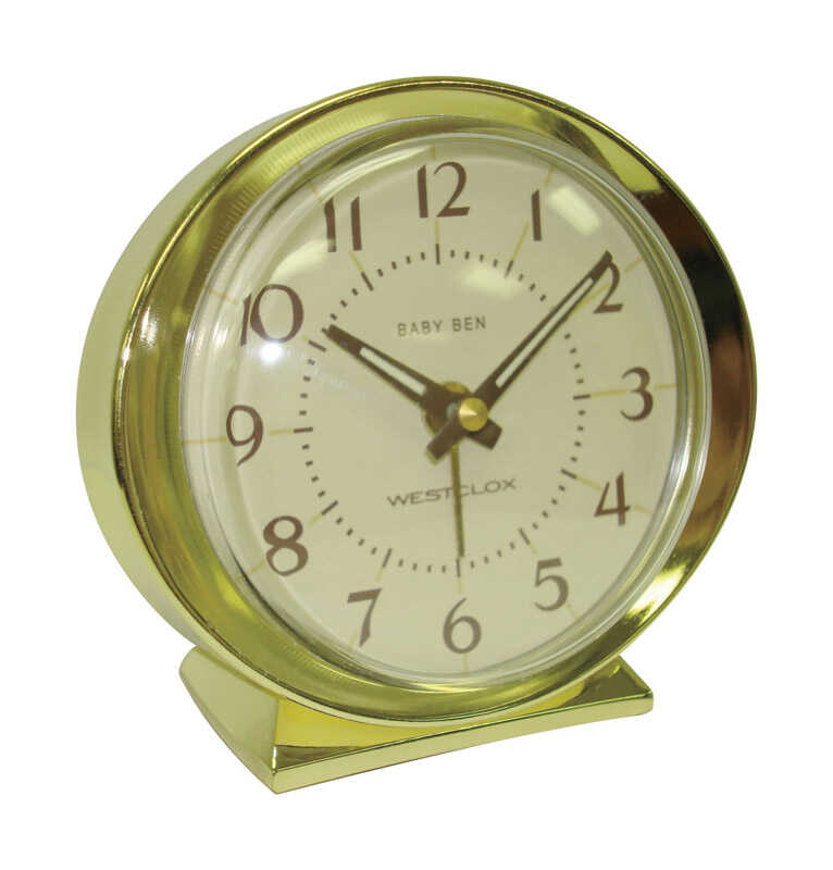 Westclox  3.5 in. Gold  Alarm Clock  Analog