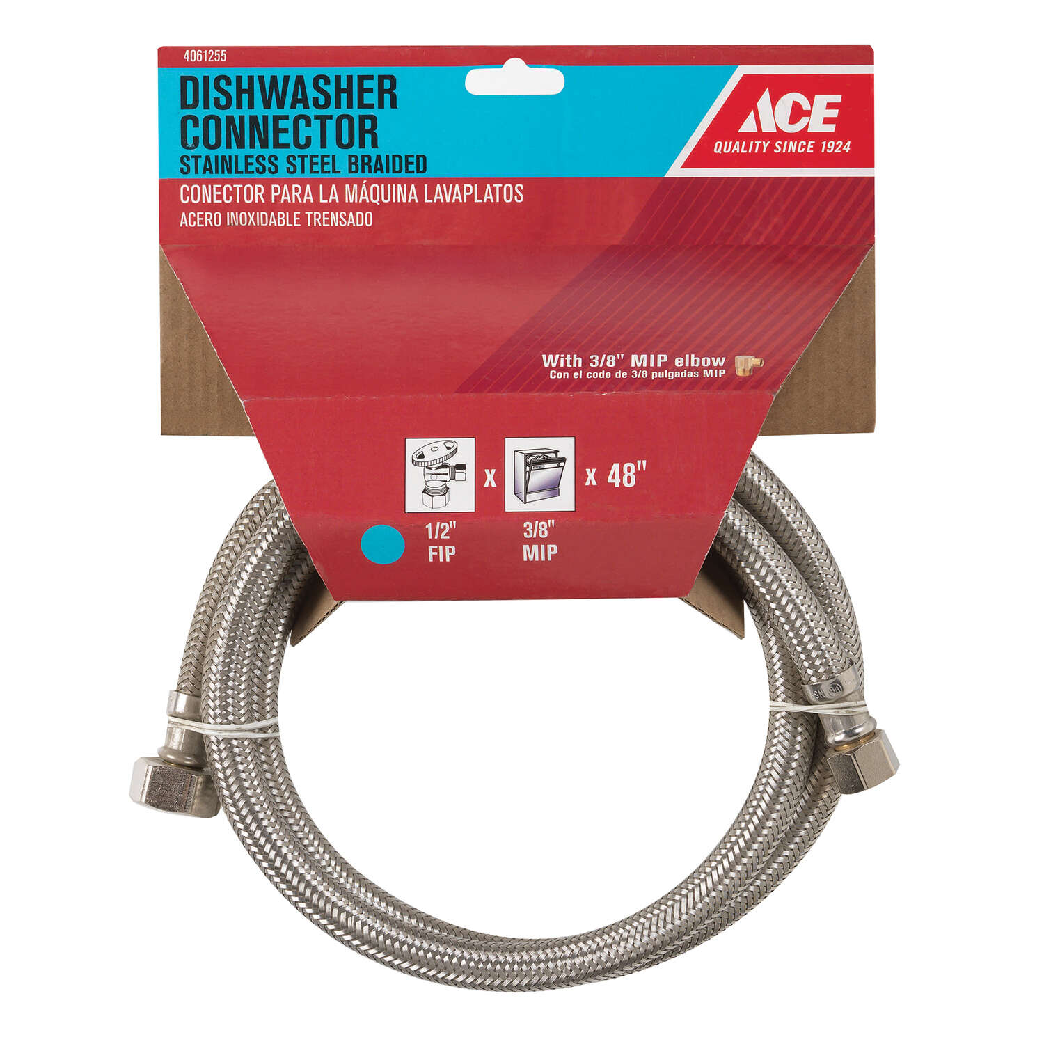Ace  1/2 in. FIP   x 3/8 in. Dia. x 48 in. L Compression  Braided Stainless Steel  Dishwasher  Dishw